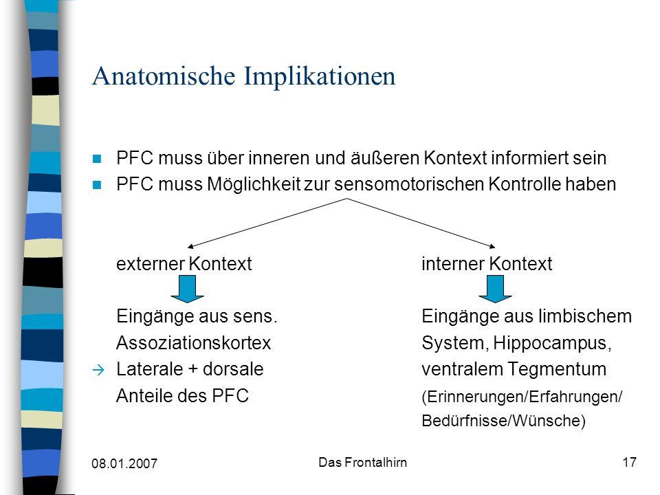 08.01.2007 Das Frontalhirn17 Anatomische Implikationen PFC muss über inneren und äußeren Kontext informiert sein PFC muss Möglichkeit zur sensomotorischen Kontrolle haben externer Kontextinterner Kontext Eingänge aus sens.
