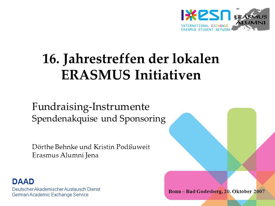 ERASMUS ALUMNI JENA 1996 gegründet Mitglied des Int.Ro Mitglied im Erasmus Student Network 20 aktive Mitglieder feste Positionen wöchentliche Sitzungen/ Sprechstunde Bonn – Bad Godesberg, 20.