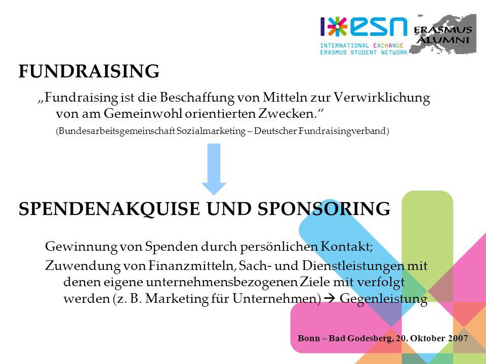 FUNDRAISING Fundraising ist die Beschaffung von Mitteln zur Verwirklichung von am Gemeinwohl orientierten Zwecken.