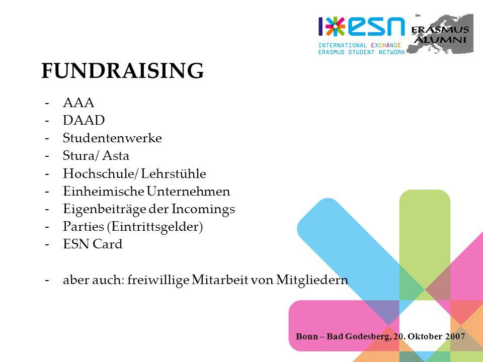 FUNDRAISING -AAA -DAAD -Studentenwerke -Stura/ Asta -Hochschule/ Lehrstühle -Einheimische Unternehmen -Eigenbeiträge der Incomings -Parties (Eintrittsgelder) -ESN Card -aber auch: freiwillige Mitarbeit von Mitgliedern Bonn – Bad Godesberg, 20.