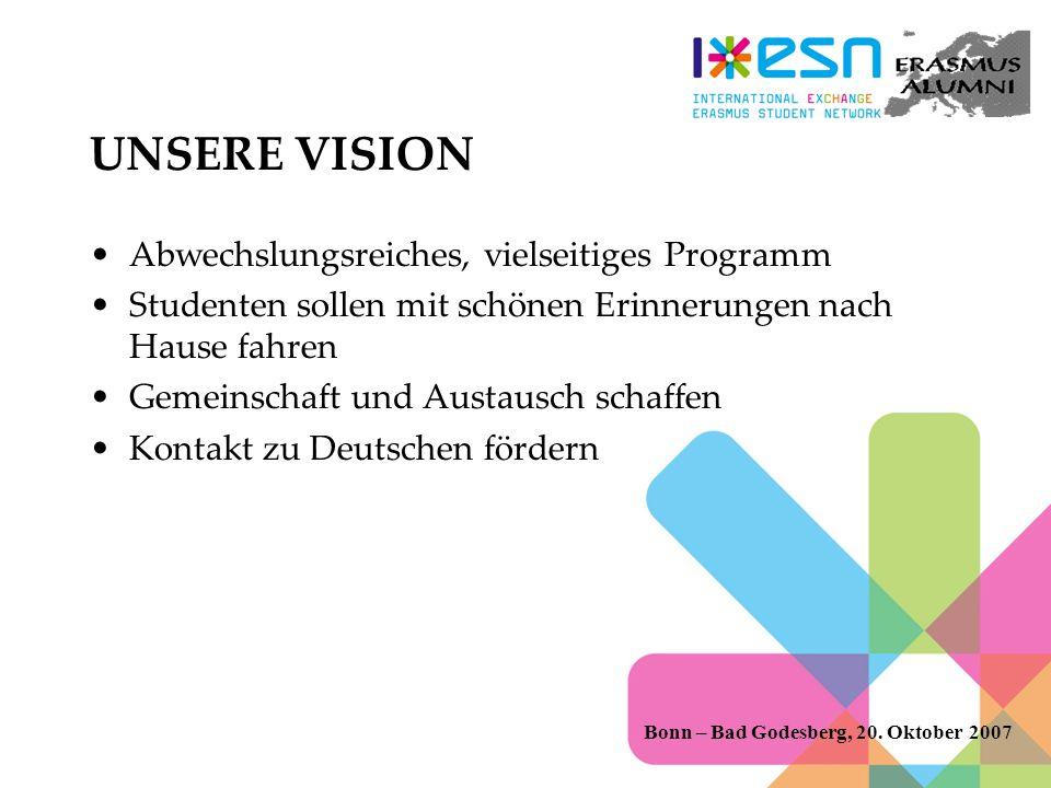 UNSERE VISION Abwechslungsreiches, vielseitiges Programm Studenten sollen mit schönen Erinnerungen nach Hause fahren Gemeinschaft und Austausch schaffen Kontakt zu Deutschen fördern Bonn – Bad Godesberg, 20.