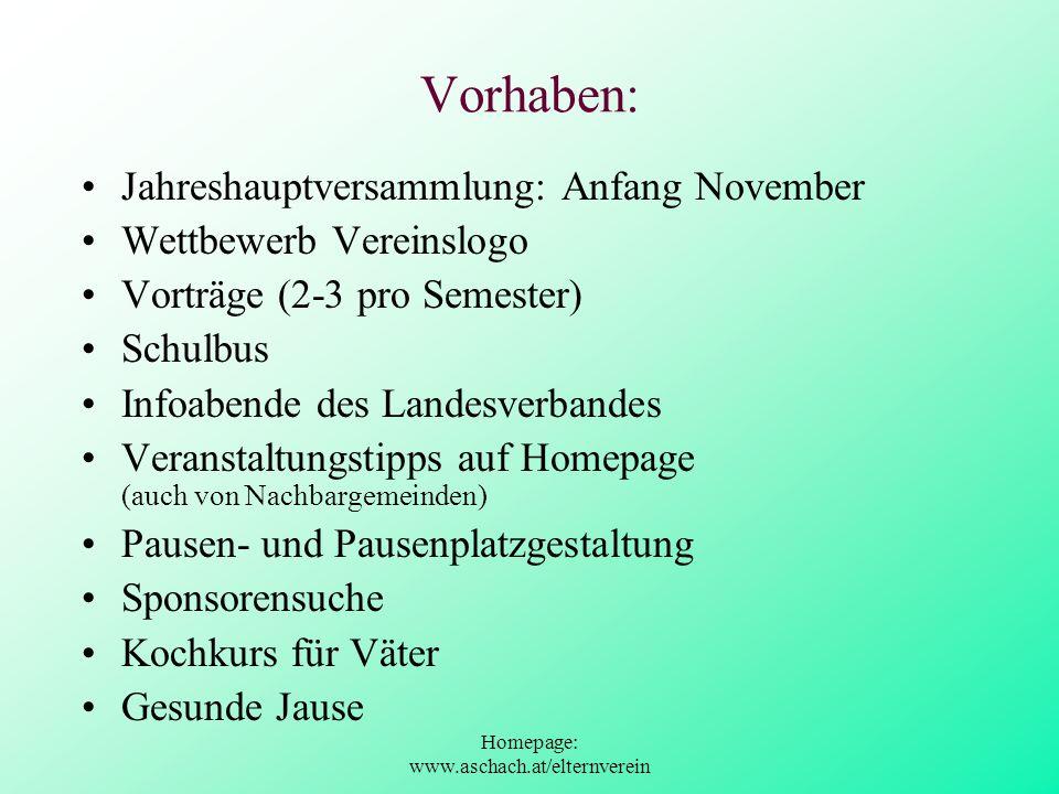 Homepage: www.aschach.at/elternverein Vorhaben: Jahreshauptversammlung: Anfang November Wettbewerb Vereinslogo Vorträge (2-3 pro Semester) Schulbus In