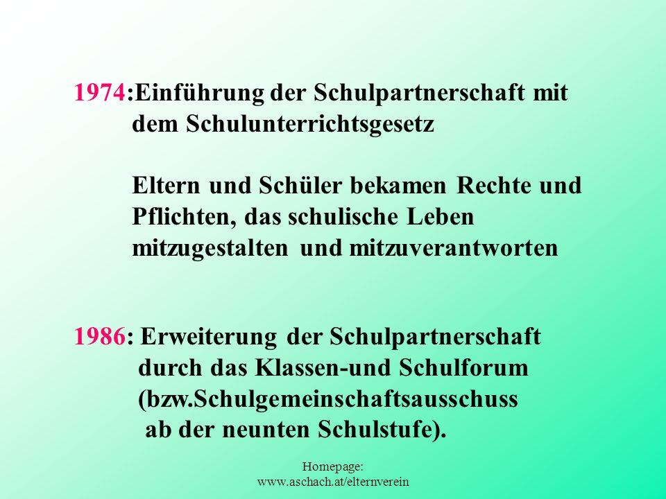 Homepage: www.aschach.at/elternverein 1974:Einführung der Schulpartnerschaft mit dem Schulunterrichtsgesetz Eltern und Schüler bekamen Rechte und Pfli
