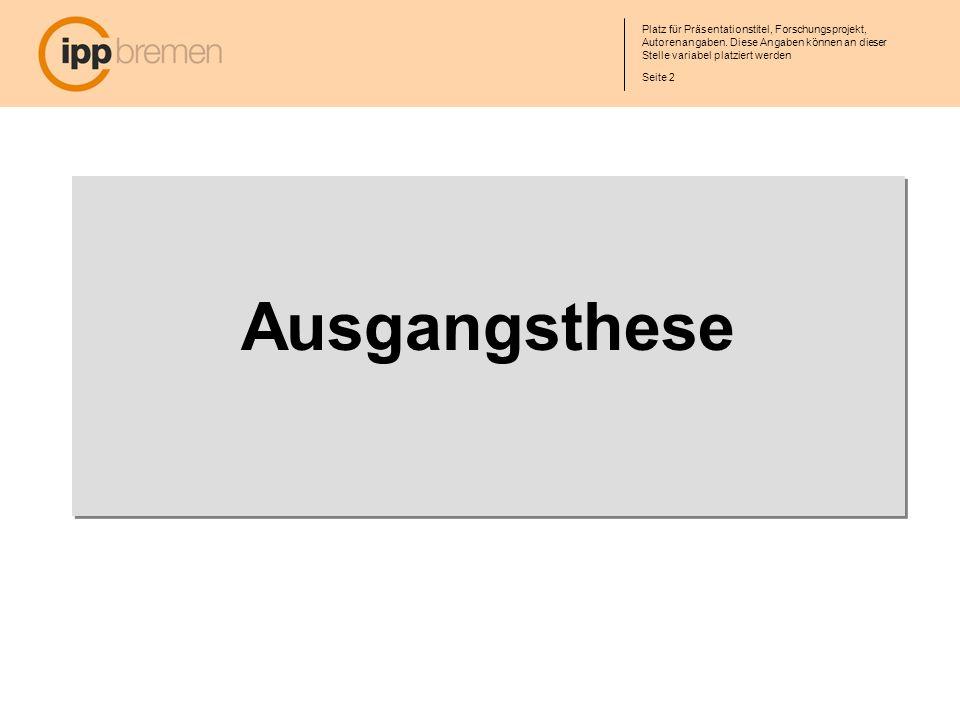 Seite 13 Platz für Präsentationstitel, Forschungsprojekt, Autorenangaben.