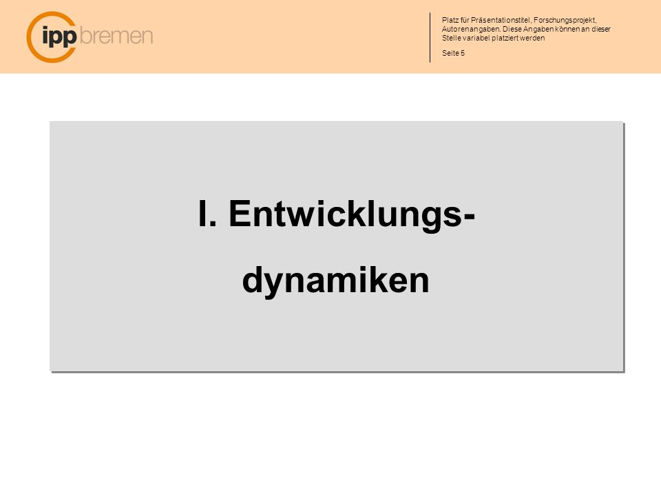 Seite 6 Platz für Präsentationstitel, Forschungsprojekt, Autorenangaben.