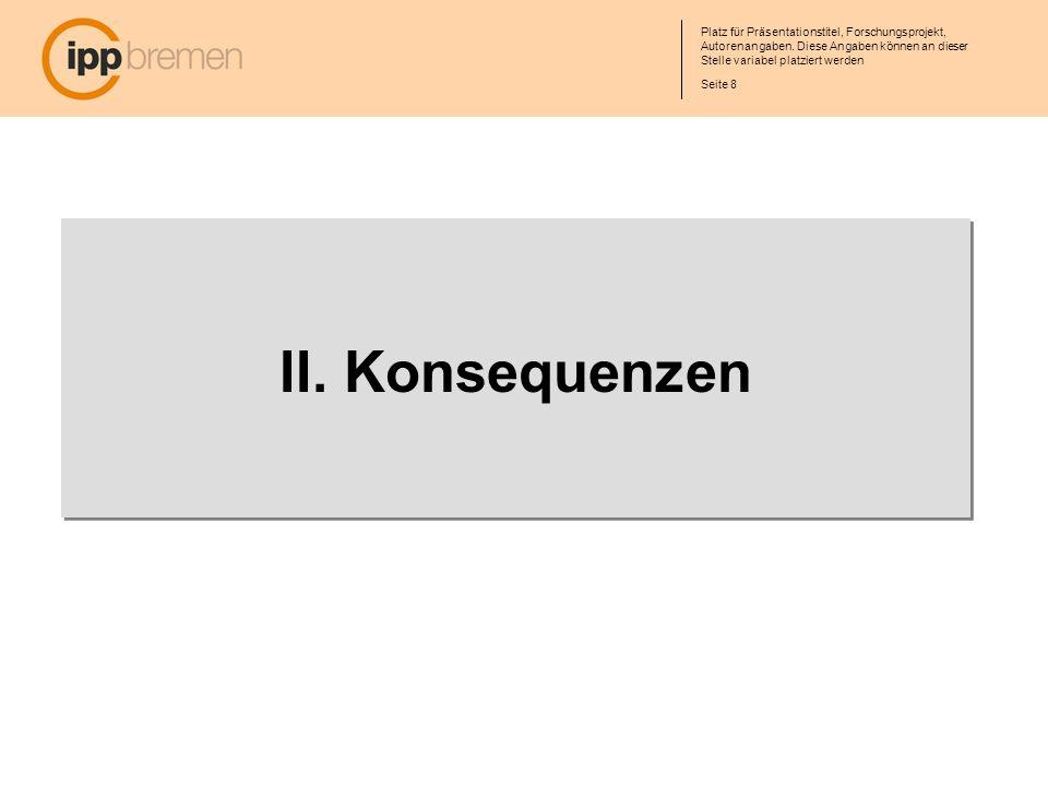 Seite 8 Platz für Präsentationstitel, Forschungsprojekt, Autorenangaben. Diese Angaben können an dieser Stelle variabel platziert werden II. Konsequen