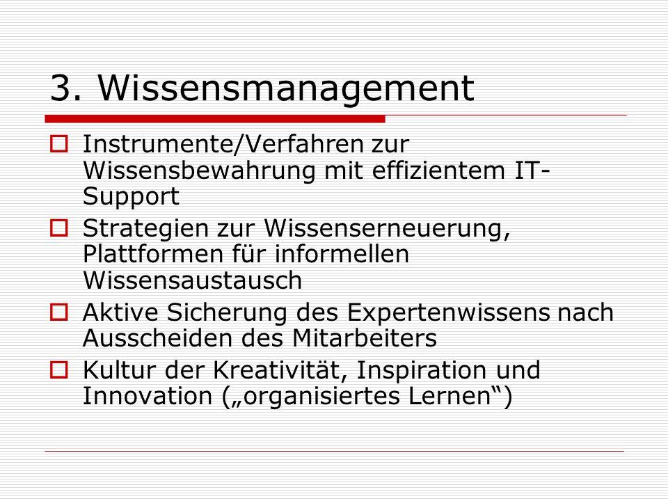 3. Wissensmanagement Instrumente/Verfahren zur Wissensbewahrung mit effizientem IT- Support Strategien zur Wissenserneuerung, Plattformen für informel