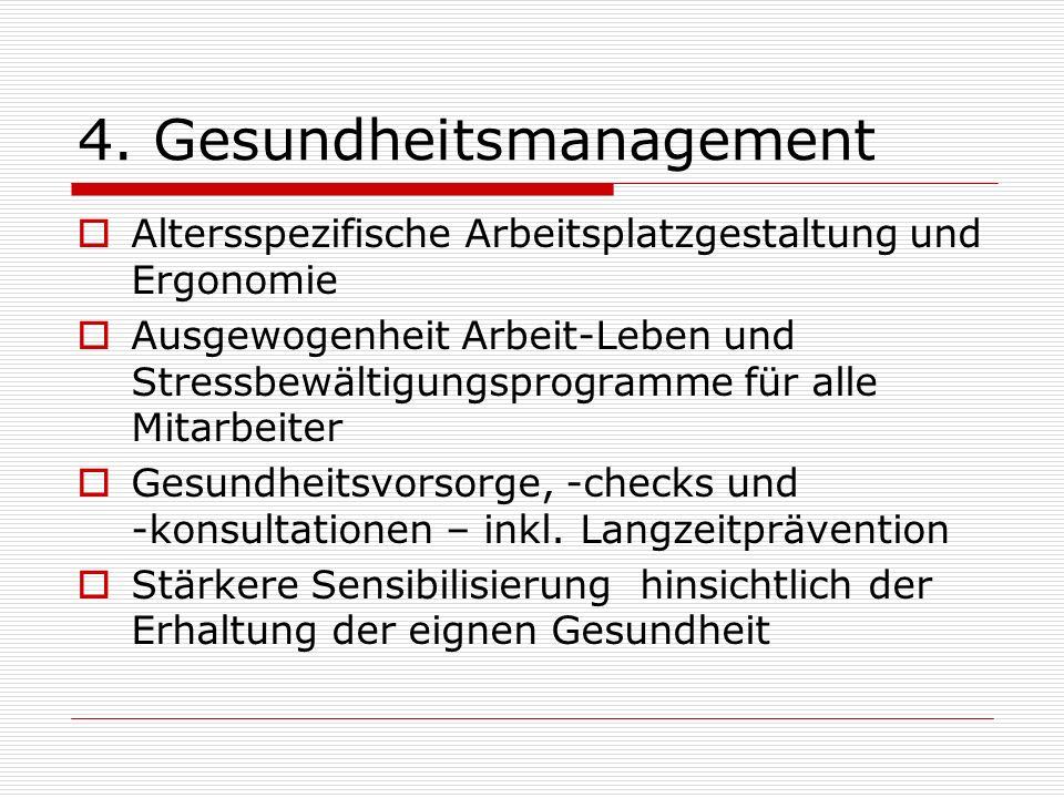 4. Gesundheitsmanagement Altersspezifische Arbeitsplatzgestaltung und Ergonomie Ausgewogenheit Arbeit-Leben und Stressbewältigungsprogramme für alle M
