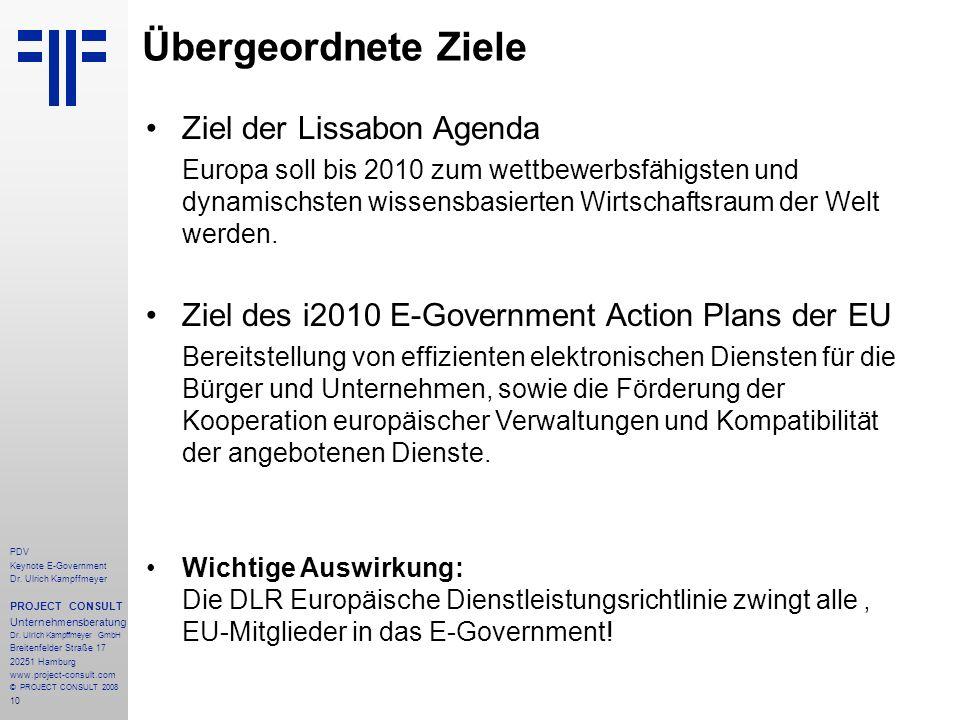 10 PDV Keynote E-Government Dr. Ulrich Kampffmeyer PROJECT CONSULT Unternehmensberatung Dr. Ulrich Kampffmeyer GmbH Breitenfelder Straße 17 20251 Hamb