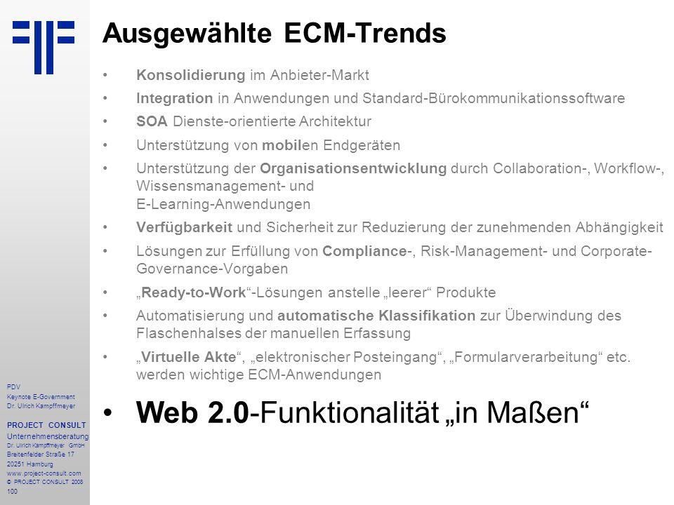 100 PDV Keynote E-Government Dr. Ulrich Kampffmeyer PROJECT CONSULT Unternehmensberatung Dr. Ulrich Kampffmeyer GmbH Breitenfelder Straße 17 20251 Ham