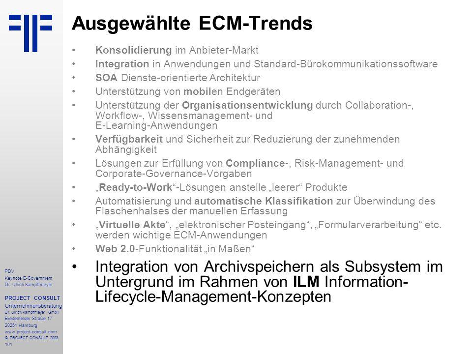 101 PDV Keynote E-Government Dr. Ulrich Kampffmeyer PROJECT CONSULT Unternehmensberatung Dr. Ulrich Kampffmeyer GmbH Breitenfelder Straße 17 20251 Ham