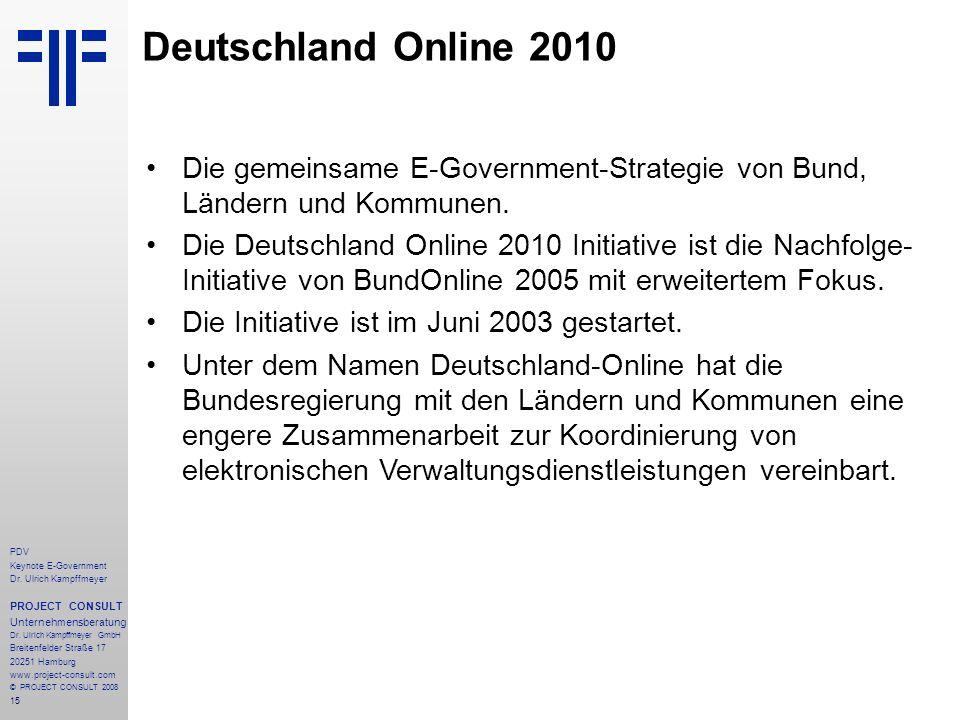 15 PDV Keynote E-Government Dr. Ulrich Kampffmeyer PROJECT CONSULT Unternehmensberatung Dr. Ulrich Kampffmeyer GmbH Breitenfelder Straße 17 20251 Hamb