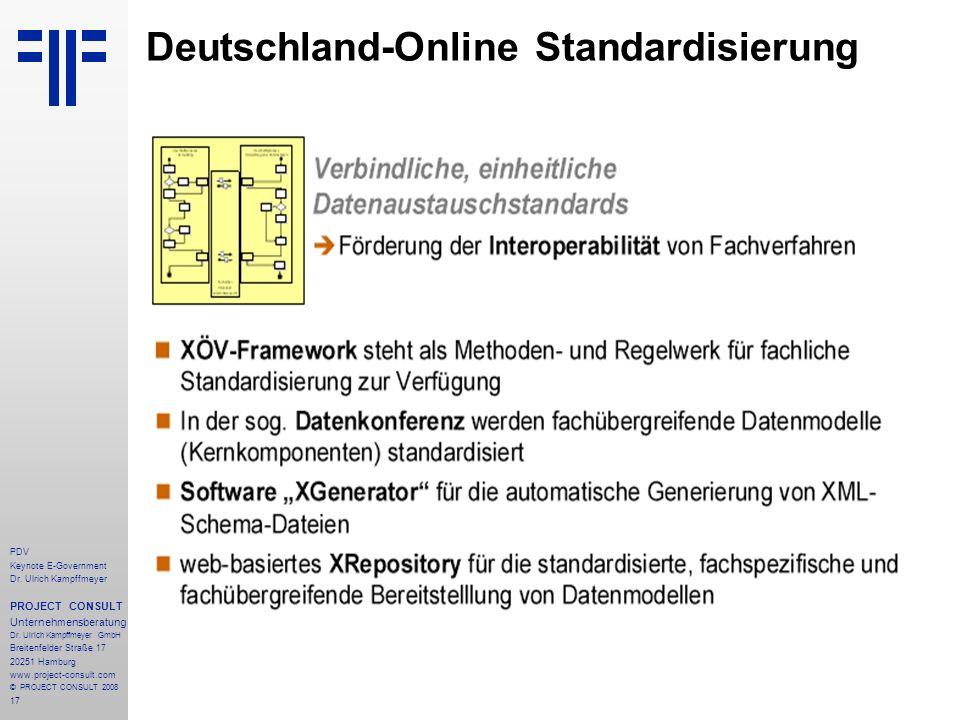 17 PDV Keynote E-Government Dr. Ulrich Kampffmeyer PROJECT CONSULT Unternehmensberatung Dr. Ulrich Kampffmeyer GmbH Breitenfelder Straße 17 20251 Hamb