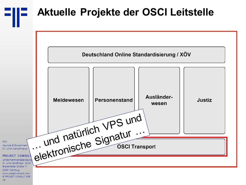19 PDV Keynote E-Government Dr. Ulrich Kampffmeyer PROJECT CONSULT Unternehmensberatung Dr. Ulrich Kampffmeyer GmbH Breitenfelder Straße 17 20251 Hamb