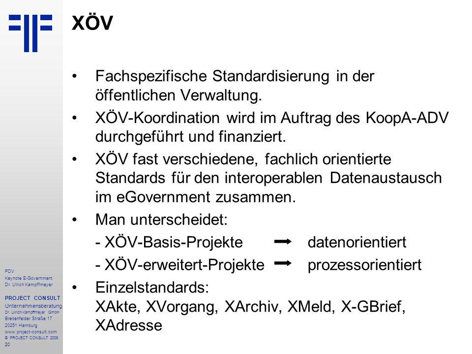 20 PDV Keynote E-Government Dr. Ulrich Kampffmeyer PROJECT CONSULT Unternehmensberatung Dr. Ulrich Kampffmeyer GmbH Breitenfelder Straße 17 20251 Hamb