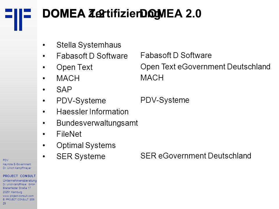 29 PDV Keynote E-Government Dr. Ulrich Kampffmeyer PROJECT CONSULT Unternehmensberatung Dr. Ulrich Kampffmeyer GmbH Breitenfelder Straße 17 20251 Hamb