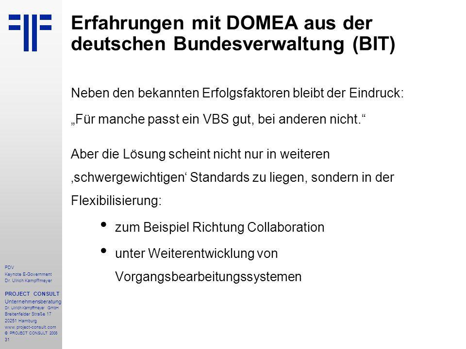 31 PDV Keynote E-Government Dr. Ulrich Kampffmeyer PROJECT CONSULT Unternehmensberatung Dr. Ulrich Kampffmeyer GmbH Breitenfelder Straße 17 20251 Hamb