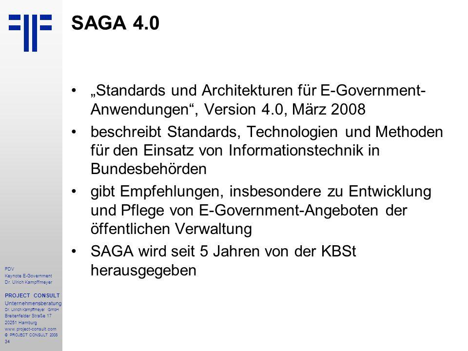 34 PDV Keynote E-Government Dr. Ulrich Kampffmeyer PROJECT CONSULT Unternehmensberatung Dr. Ulrich Kampffmeyer GmbH Breitenfelder Straße 17 20251 Hamb
