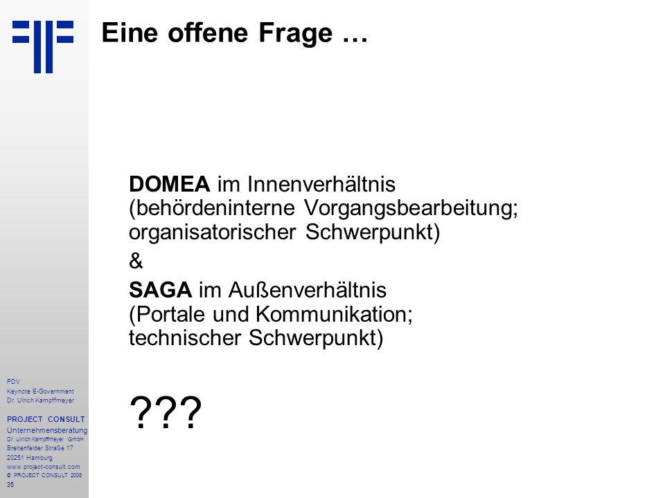 35 PDV Keynote E-Government Dr. Ulrich Kampffmeyer PROJECT CONSULT Unternehmensberatung Dr. Ulrich Kampffmeyer GmbH Breitenfelder Straße 17 20251 Hamb