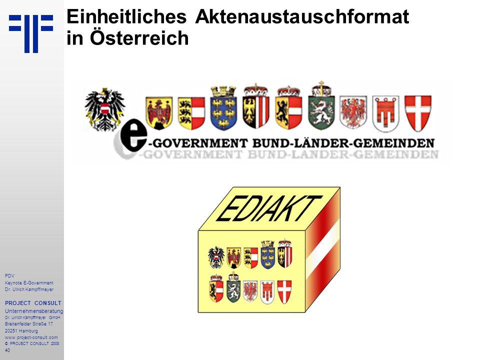 40 PDV Keynote E-Government Dr. Ulrich Kampffmeyer PROJECT CONSULT Unternehmensberatung Dr. Ulrich Kampffmeyer GmbH Breitenfelder Straße 17 20251 Hamb