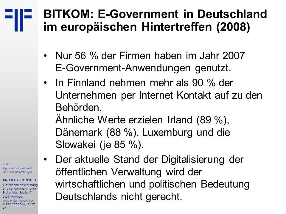 47 PDV Keynote E-Government Dr. Ulrich Kampffmeyer PROJECT CONSULT Unternehmensberatung Dr. Ulrich Kampffmeyer GmbH Breitenfelder Straße 17 20251 Hamb