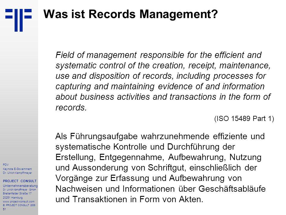 51 PDV Keynote E-Government Dr. Ulrich Kampffmeyer PROJECT CONSULT Unternehmensberatung Dr. Ulrich Kampffmeyer GmbH Breitenfelder Straße 17 20251 Hamb