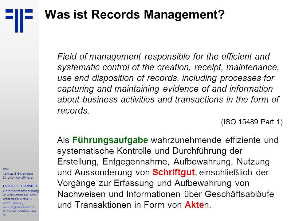 52 PDV Keynote E-Government Dr. Ulrich Kampffmeyer PROJECT CONSULT Unternehmensberatung Dr. Ulrich Kampffmeyer GmbH Breitenfelder Straße 17 20251 Hamb