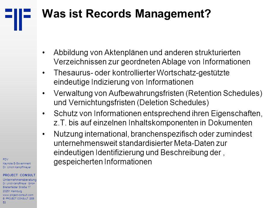 53 PDV Keynote E-Government Dr. Ulrich Kampffmeyer PROJECT CONSULT Unternehmensberatung Dr. Ulrich Kampffmeyer GmbH Breitenfelder Straße 17 20251 Hamb