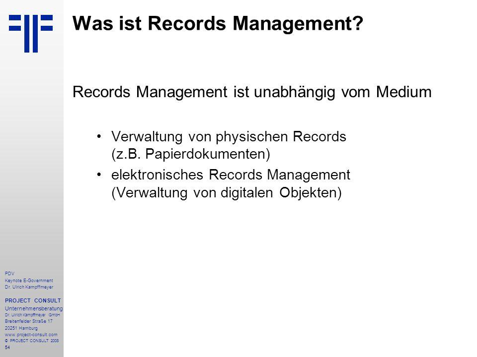 54 PDV Keynote E-Government Dr. Ulrich Kampffmeyer PROJECT CONSULT Unternehmensberatung Dr. Ulrich Kampffmeyer GmbH Breitenfelder Straße 17 20251 Hamb