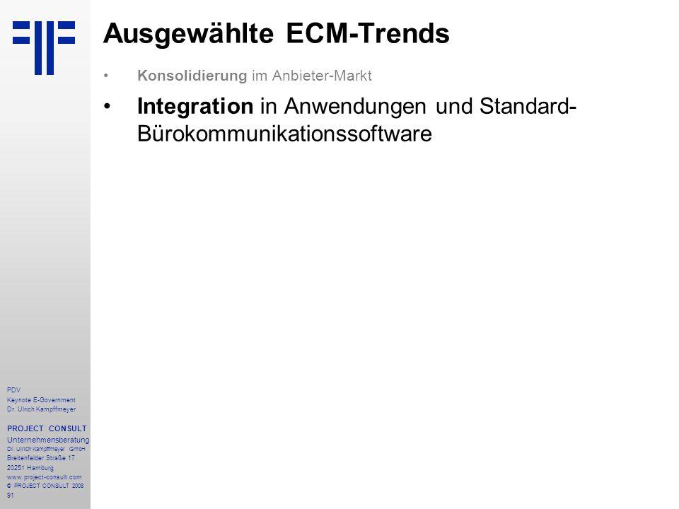 91 PDV Keynote E-Government Dr. Ulrich Kampffmeyer PROJECT CONSULT Unternehmensberatung Dr. Ulrich Kampffmeyer GmbH Breitenfelder Straße 17 20251 Hamb