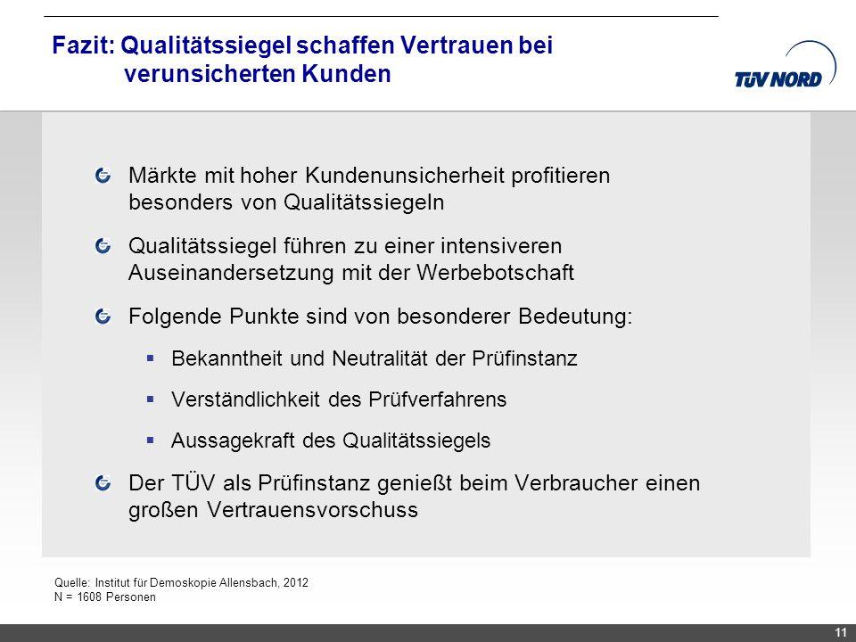 TNC/Servicequalität/Brandmaier Märkte mit hoher Kundenunsicherheit profitieren besonders von Qualitätssiegeln Qualitätssiegel führen zu einer intensiv