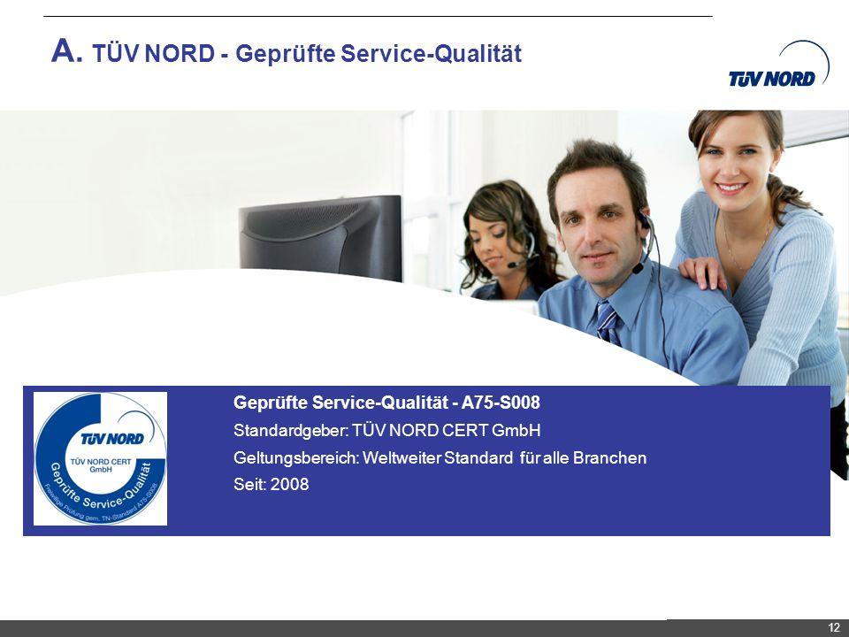 TNC/Servicequalität/Brandmaier A. TÜV NORD - Geprüfte Service-Qualität 12 Geprüfte Service-Qualität - A75-S008 Standardgeber: TÜV NORD CERT GmbH Geltu