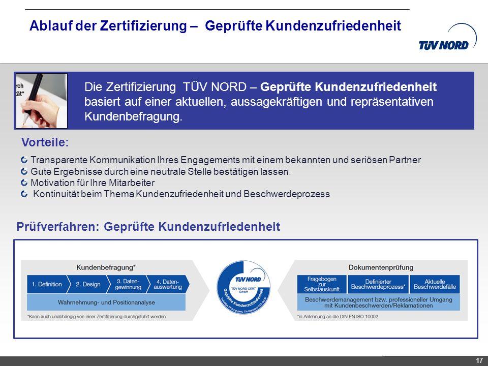 TNC/Servicequalität/Brandmaier Ablauf der Zertifizierung – Geprüfte Kundenzufriedenheit 17 Die Zertifizierung TÜV NORD – Geprüfte Kundenzufriedenheit