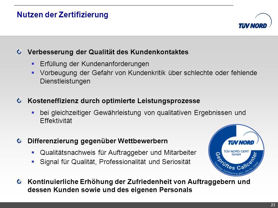 TNC/Servicequalität/Brandmaier Nutzen der Zertifizierung Verbesserung der Qualität des Kundenkontaktes Erfüllung der Kundenanforderungen Vorbeugung de