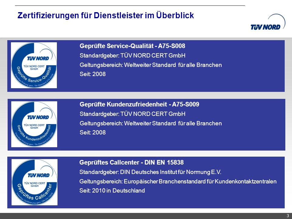 TNC/Servicequalität/Brandmaier Zertifizierungen für Dienstleister im Überblick 33 Geprüfte Kundenzufriedenheit - A75-S009 Standardgeber: TÜV NORD CERT