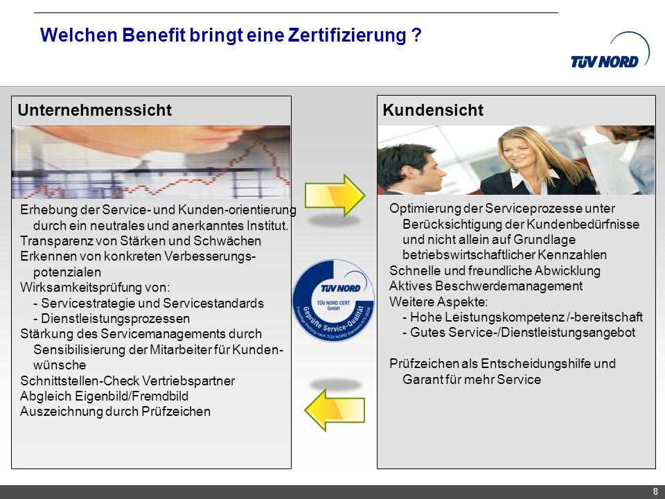 TNC/Servicequalität/Brandmaier 8 Welchen Benefit bringt eine Zertifizierung ? Unternehmenssicht Erhebung der Service- und Kunden-orientierung durch ei