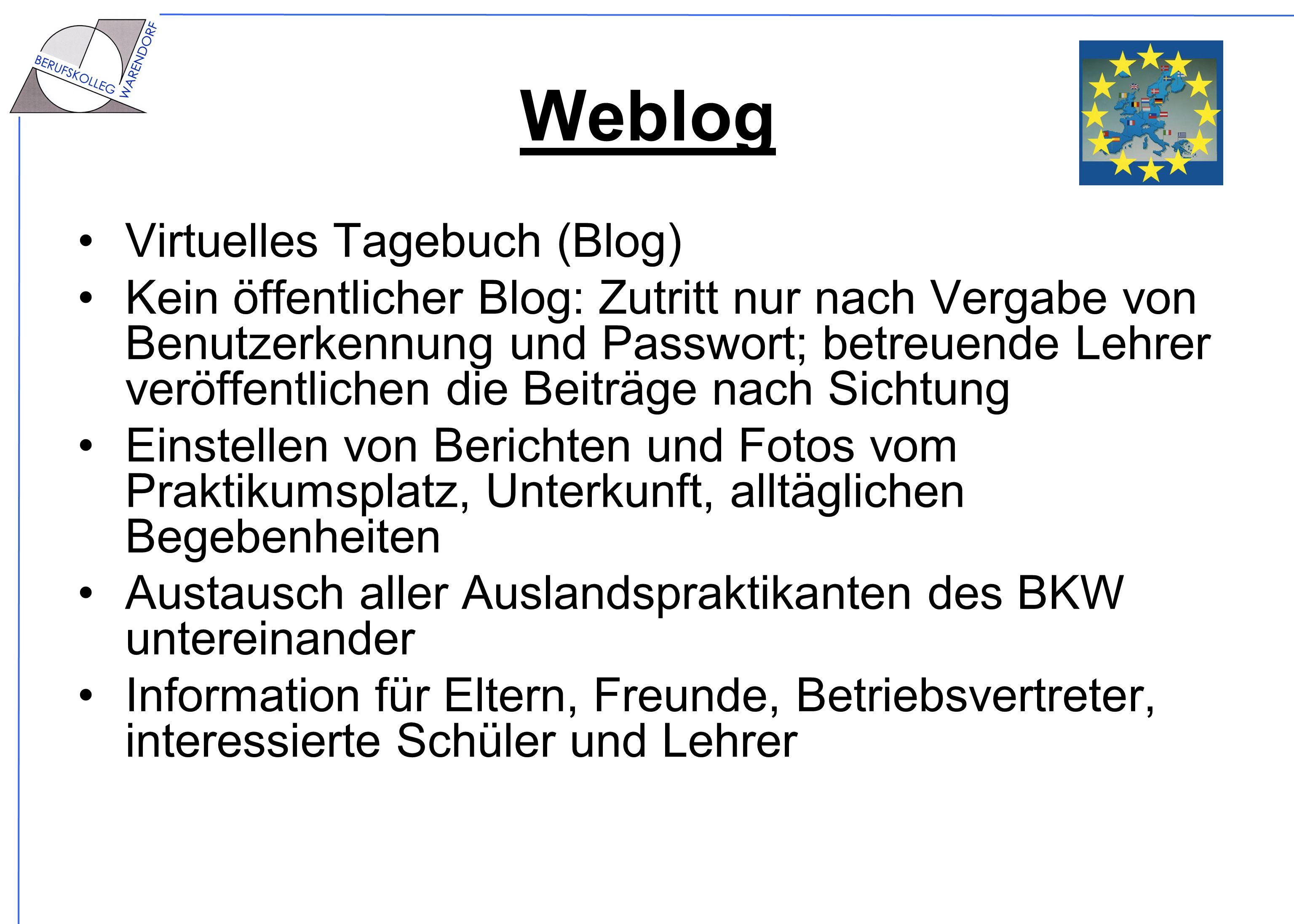 Weblog Virtuelles Tagebuch (Blog) Kein öffentlicher Blog: Zutritt nur nach Vergabe von Benutzerkennung und Passwort; betreuende Lehrer veröffentlichen