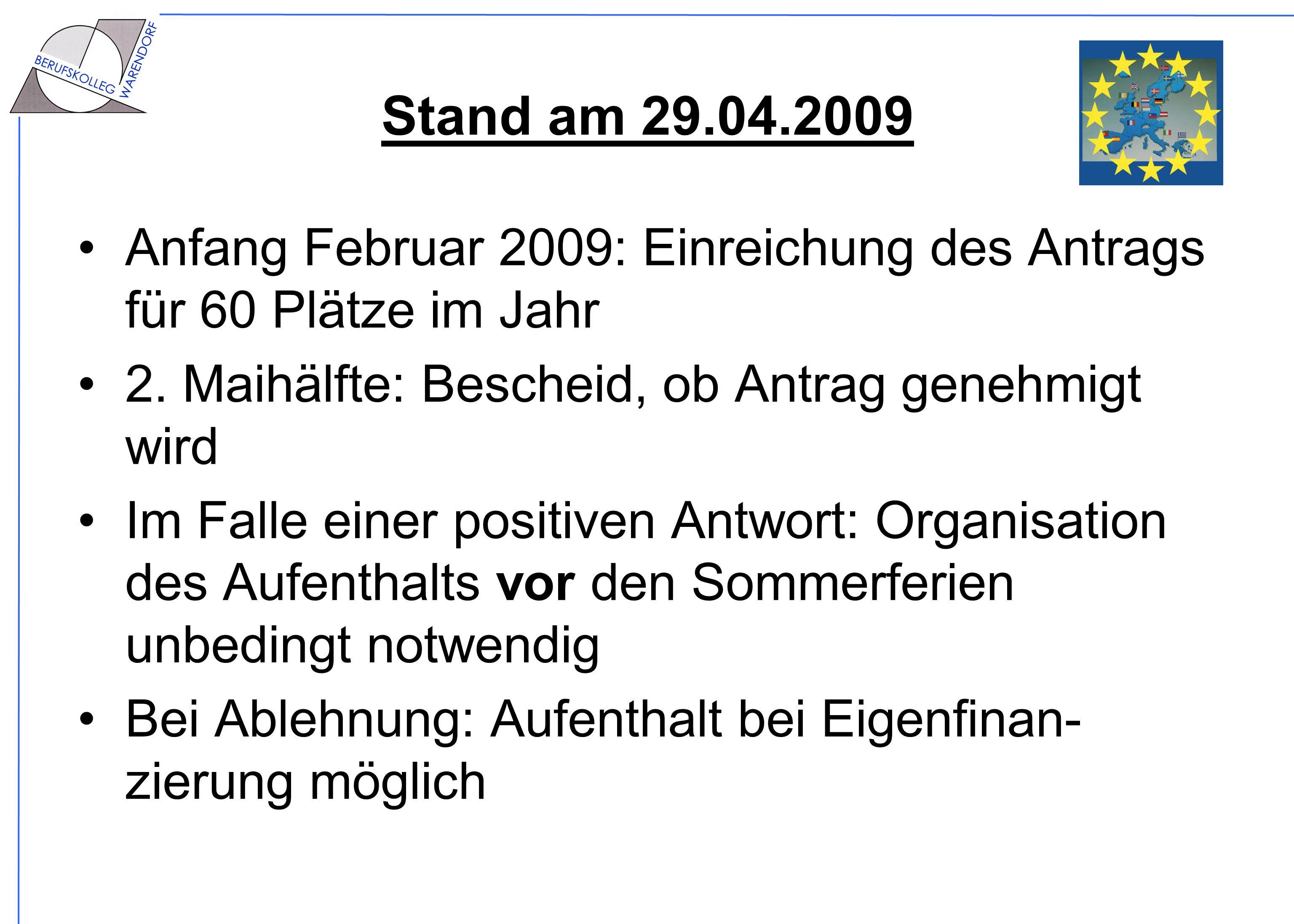 Stand am 29.04.2009 Anfang Februar 2009: Einreichung des Antrags für 60 Plätze im Jahr 2. Maihälfte: Bescheid, ob Antrag genehmigt wird Im Falle einer