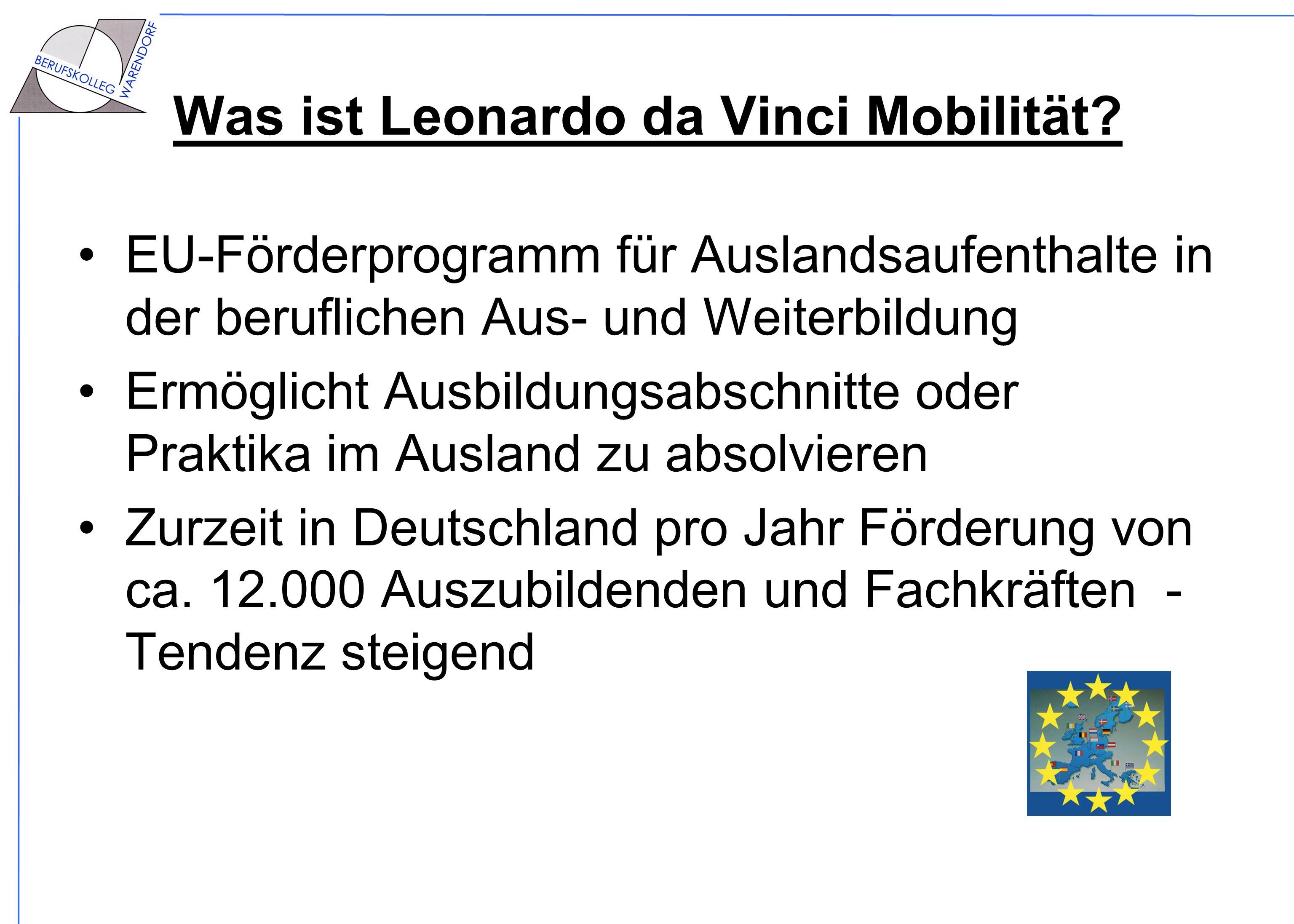 Was ist Leonardo da Vinci Mobilität? EU-Förderprogramm für Auslandsaufenthalte in der beruflichen Aus- und Weiterbildung Ermöglicht Ausbildungsabschni
