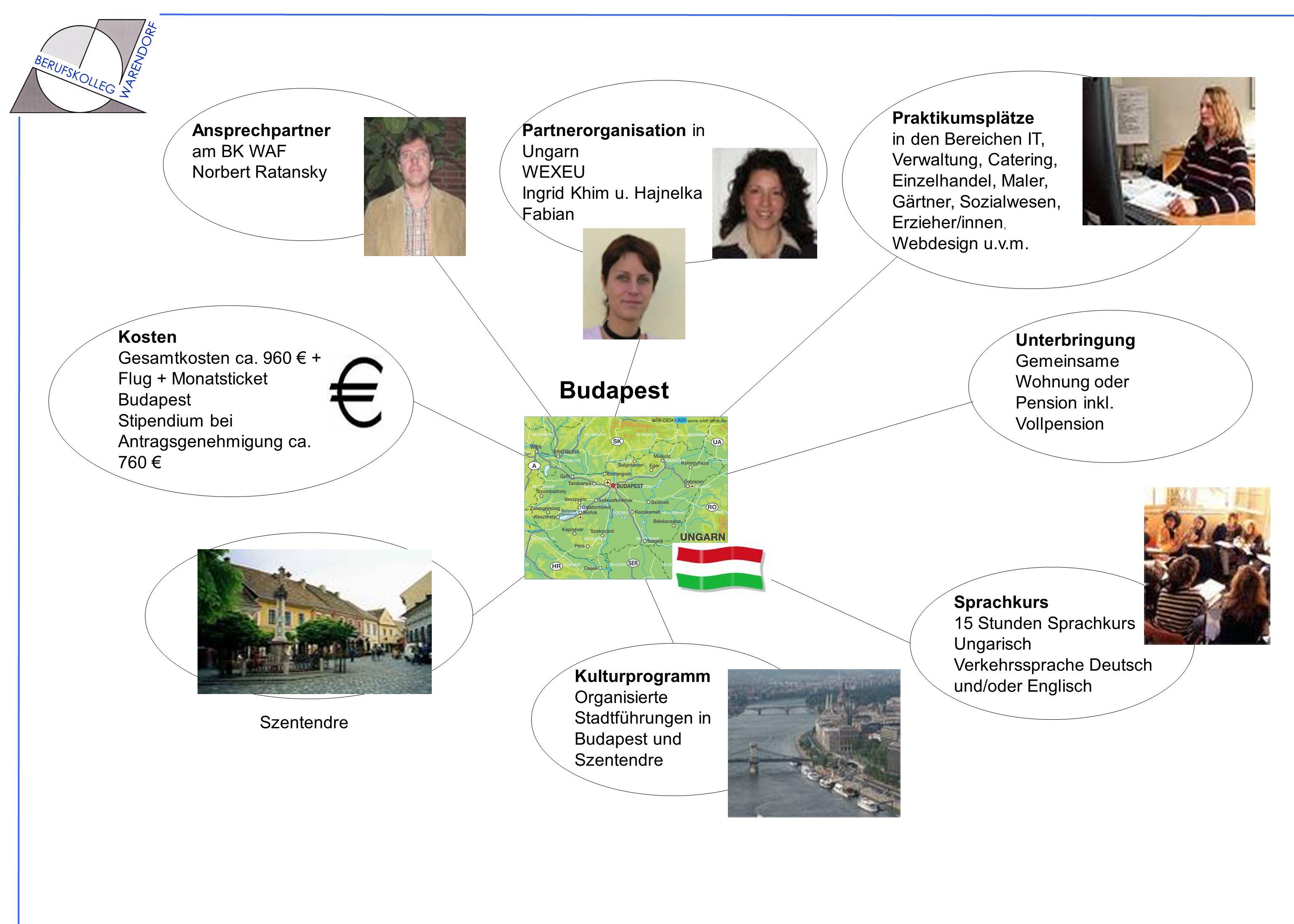 Sprachkurs 15 Stunden Sprachkurs Ungarisch Verkehrssprache Deutsch und/oder Englisch Praktikumsplätze in den Bereichen IT, Verwaltung, Catering, Einze