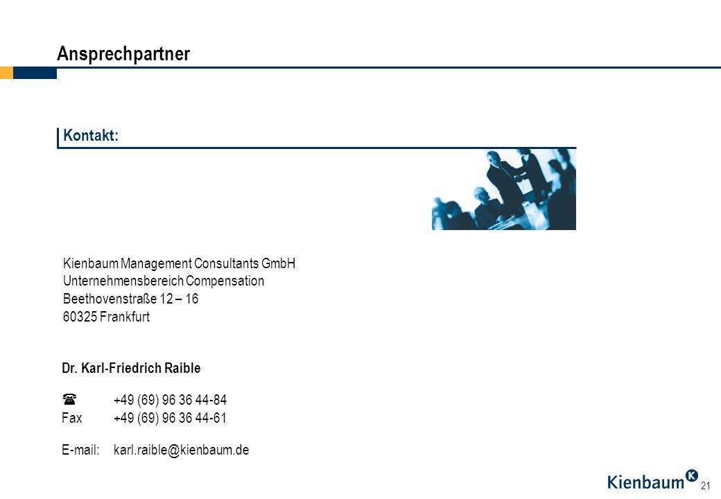 21 Ansprechpartner Kienbaum Management Consultants GmbH Unternehmensbereich Compensation Beethovenstraße 12 – 16 60325 Frankfurt Dr. Karl-Friedrich Ra