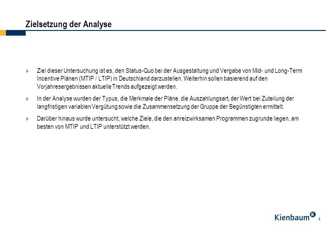 4 »Ziel dieser Untersuchung ist es, den Status-Quo bei der Ausgestaltung und Vergabe von Mid- und Long-Term Incentive Plänen (MTIP / LTIP) in Deutschl