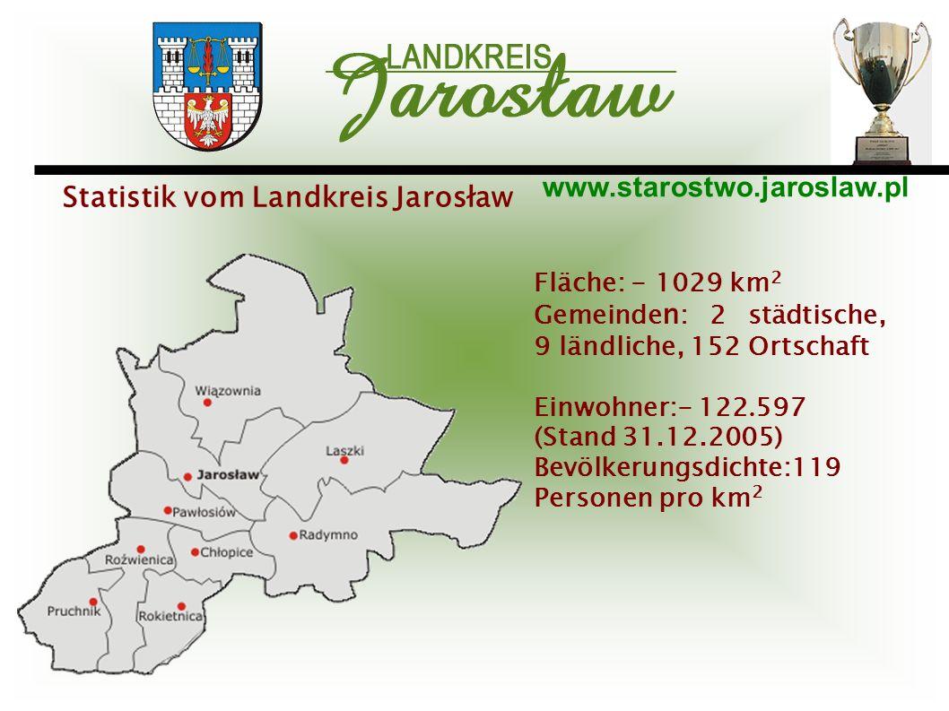 www.starostwo.jaroslaw.pl Fläche: - 1029 km 2 Gemeinde n : 2 städtische, 9 ländliche, 152 Ortschaft Einwohner:- 122. 597 (Stand 31.12.2005) Bevölkerun