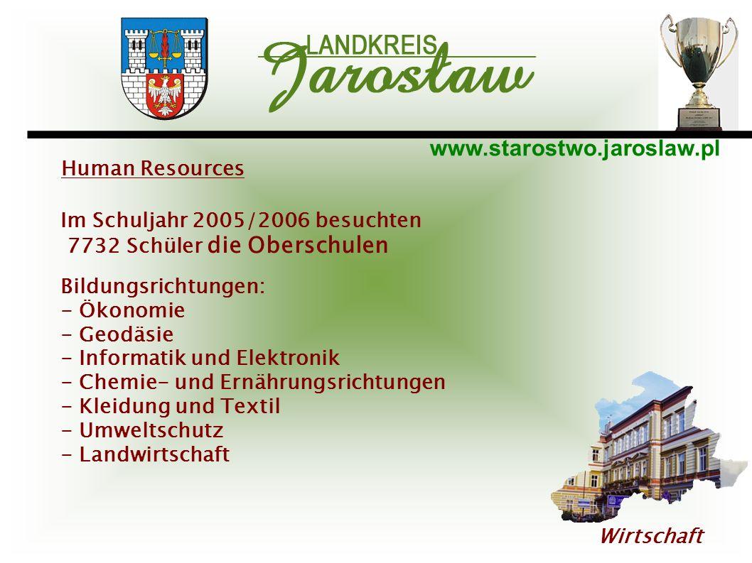 www.starostwo.jaroslaw.pl Wirtschaft Human Resources Im Schuljahr 2005/2006 besuchten 7732 Schüler die Oberschulen Bildungsrichtungen: - Ökonomie - Ge