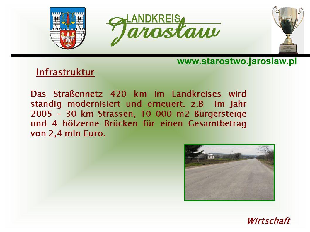 www.starostwo.jaroslaw.pl Wirtschaft Das Straßennetz 420 km im Landkreises wird ständig modernisiert und erneuert. z.B im Jahr 2005 – 30 km Strassen,