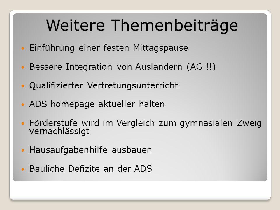 Weitere Themenbeiträge Einführung einer festen Mittagspause Bessere Integration von Ausländern (AG !!) Qualifizierter Vertretungsunterricht ADS homepa