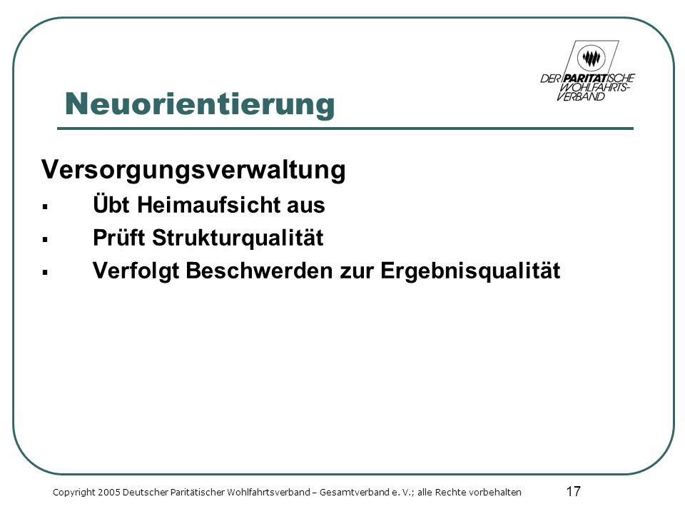 17 Neuorientierung Versorgungsverwaltung Übt Heimaufsicht aus Prüft Strukturqualität Verfolgt Beschwerden zur Ergebnisqualität Copyright 2005 Deutscher Paritätischer Wohlfahrtsverband – Gesamtverband e.