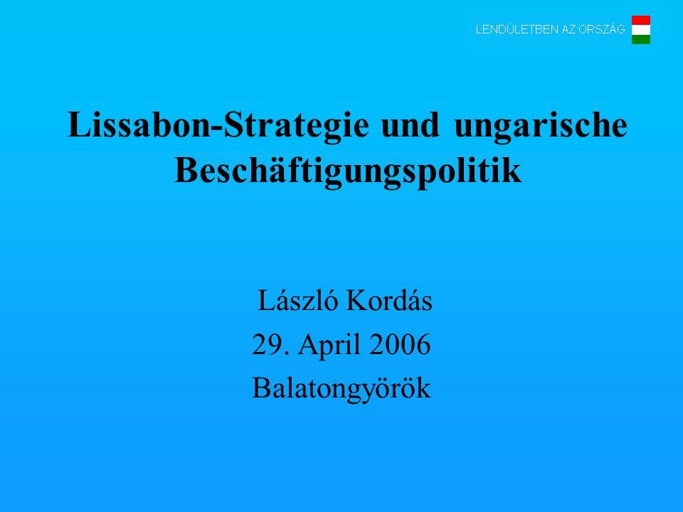 Lissabon-Strategie und ungarische Beschäftigungspolitik László Kordás 29. April 2006 Balatongyörök
