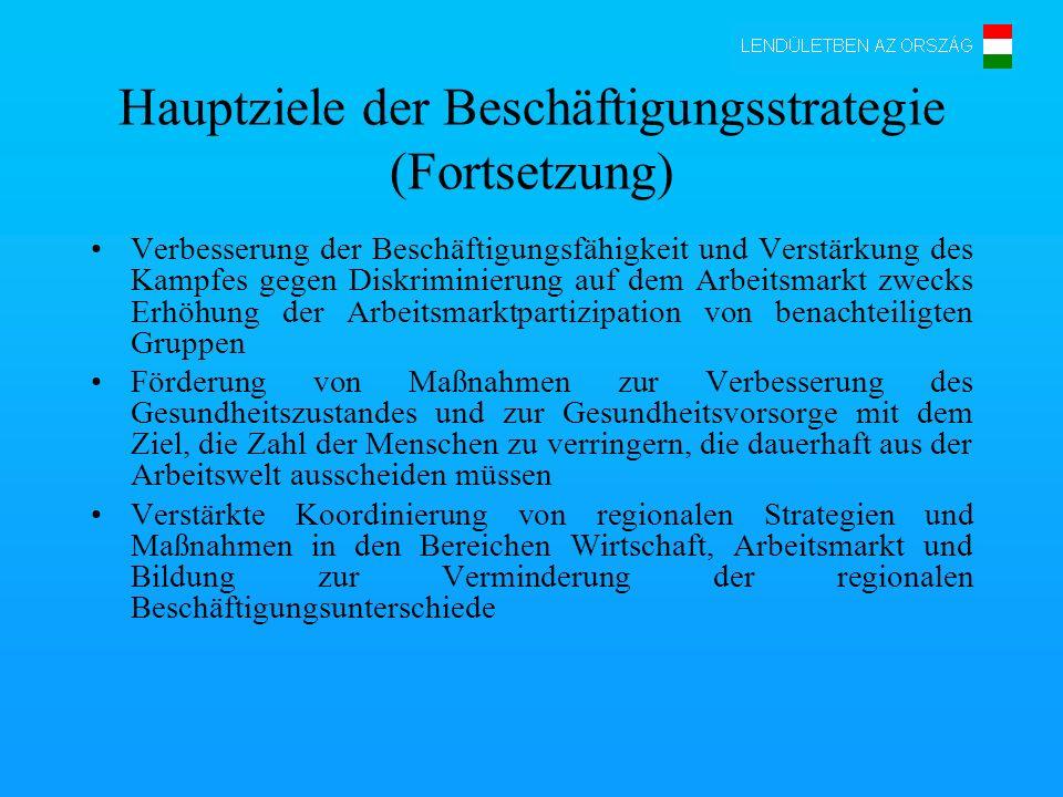 Hauptziele der Beschäftigungsstrategie (Fortsetzung) Verbesserung der Beschäftigungsfähigkeit und Verstärkung des Kampfes gegen Diskriminierung auf de