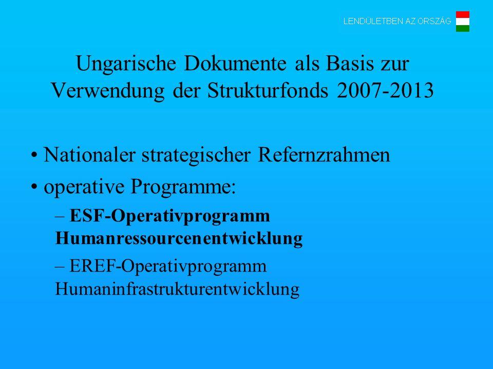 Ungarische Dokumente als Basis zur Verwendung der Strukturfonds 2007-2013 Nationaler strategischer Refernzrahmen operative Programme: – ESF-Operativpr